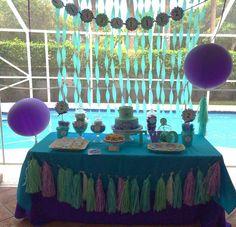 "Ariel Mermaid party / Birthday ""Ariel Under the Sea Birthday"" Third Birthday Girl, Mermaid Theme Birthday, Swim Birthday Parties, Ariel Mermaid, Little Mermaid Parties, Ideias Diy, Under The Sea Party, Sea Theme, Birthday Ideas"