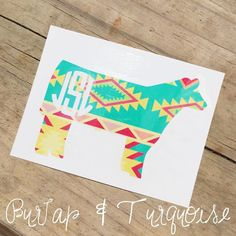 Show Steer Decal w/ Monogram by BurlapAndTurquoise on Etsy