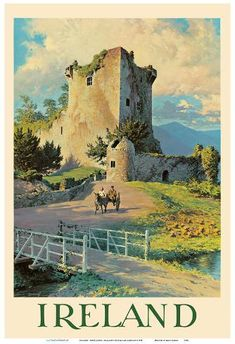 Vintage travel poster of an old castle in Ireland. I am not entirely sure where the castle in this poster is located in Ireland. It is most likely Blarney Castle but it also resembles Castle Ross, Killarney Park or Kilcash Castle. Irish Prayer, Irish Jokes, Castles In Ireland, Irish Art, Vintage Travel Posters, Ireland Travel, Places To Visit, Irish Sayings, Irish Proverbs