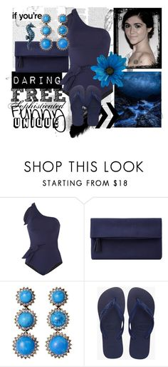 """""""Cloves Swimsuit at the Balcony."""" by thedarkflame ❤ liked on Polyvore featuring Violet Lake, John Lewis, Badgley Mischka, Havaianas, Deep Blue and ASOS"""