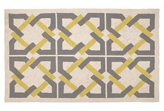 Geometric Tile Hook Rug, Yellow/Gray on OneKingsLane.com
