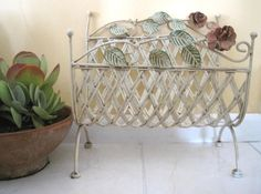Vintage Toleware, Lattice Magazine Rack, Shabby Chic Metal Red Roses, Tole Painting, Off White, French Chic, Storage, Holder, Home Decor by SharetheLoveVintage on Etsy