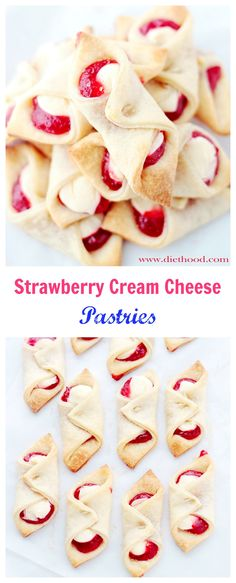 Soft, flaky and delicious cream cheese dough filled with a sweet cream cheese mixture and strawberry jam.