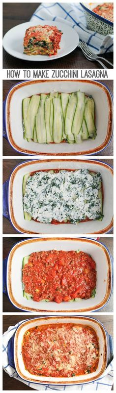 A bold meaty zucchini lasagna made with thin slices of zucchini instead of pasta. This zucchini lasagna recipe is a lower carb version of a classic! Zucchini Lasagna Recipes, Vegetable Recipes, Zucchini Lasagne, Easy Zuchinni Recipes, Zuchinni Bake, Mushroom Zucchini Recipe, Zuchinni Casserole, Sauteed Zucchini Recipes, Eggplant Zucchini