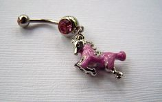 Belly Ring Bellybutton Ring Eyebrow Piercing Body Jewelry Pink Horse Jewelry. $14.00, via Etsy.