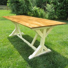 DIY Farmhouse Table   I think a thicker top, or false edges to suggest a thicker top
