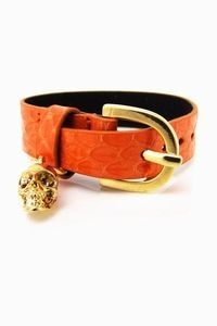 Oranje Lederen Armband Slangenprint Gesp Skull