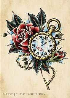 Pocket watch and Rose tattoo design/drawing by Mr Curtis at tribalbodyart.co.uk