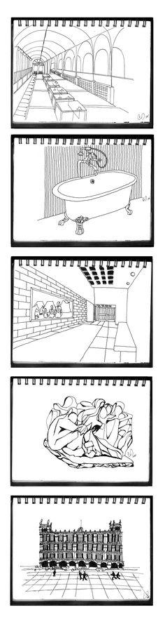 croquis varios, tinta / various sketches, ink. Gmo.L. 2002
