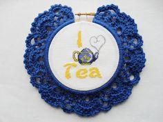 I Love Tea cross stitch in dark blue crochet by YellowSherbet