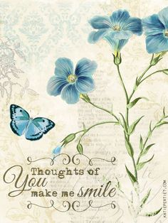 Thoughts of You Make Me Smile - Blue Flowers & Butterfly by Katie Pertiet Vintage Cards, Vintage Images, Mini Albums, Scrapbook Paper, Scrapbooking, Scrapbook Images, Blue Nose Friends, Project Life Cards, Pocket Cards