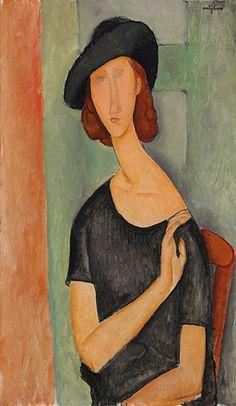 """Modigliani, """"Portrait of Jeanne Hébuterne (au Chapeau)"""" Amedeo Modigliani, Modigliani Portraits, Modigliani Paintings, Italian Painters, Italian Artist, Action Painting, Pierre Auguste Renoir, Edouard Manet, A4 Poster"""