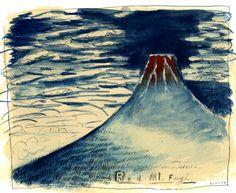 Hokusai's Red Mt. Fuji interpretation by Regan Dunnick