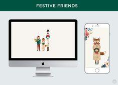 Free downloadable festive friends digital wallpapers