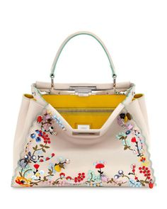 Peekaboo+Large+Floral-Embroidered+Satchel+Bag,+Beige+by+Fendi+at+Neiman+Marcus.