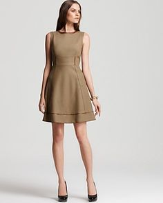 Elie Tahari Callie Sleeveless A-Line Dress with Leather Trim $398.00 @Bloomingdales