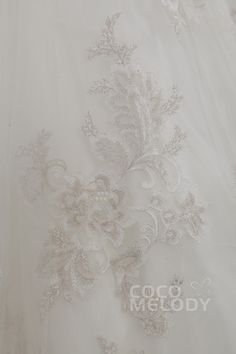Unique A-Line Strapless Train Tulle Ivory Sleeveless Lace Up-Corset Wedding Dress with Flower and Embroidery CWLT15007 #weddingdress #cocomelody