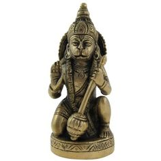 Amazon.com: Gifts Idea Sitting Statue Lord Hanumaan Brass Figurine 2 X 1.75 X 5 Inches: Home & Kitchen