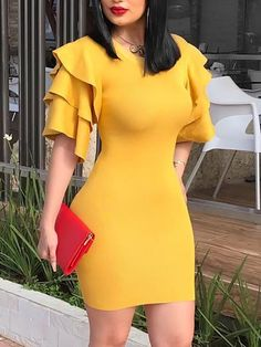 Solid Layered Ruffle Sleeve Bodycon Dress Women's Best Online Shopping - Offering Huge Discounts on Dresses, Lingerie , Jumpsuits , Swimwear, Tops and More. Tight Dresses, Sexy Dresses, Cute Dresses, Casual Dresses, Short Dresses, Fashion Dresses, Elegant Dresses, 50s Dresses, Party Dresses