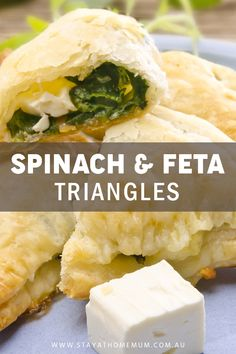 Spinach and Feta Triangles are super easy to make and are always a party favourite. Vegetarian Recipes, Cooking Recipes, Healthy Recipes, Appetizer Recipes, Dinner Recipes, Appetizers, Greek Cooking, Spinach And Feta, Lunch Snacks