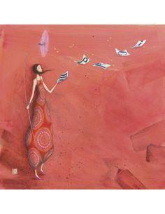 """Gaëlle Boissonnard carte d'art carrée """"Les lettres au vent"""""""