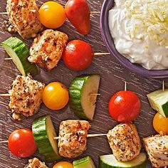 Mini Souvlaki Skewers with Fennel-Yogurt Dip From Better Homes and Gardens, ideas and improvement projects for your home and garden plus recipes and entertaining ideas.