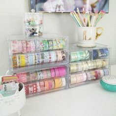 Office Supplies Organization Business Tips Printing Christmas Gift Ideas Office Supply Organization, Craft Organization, Craft Storage, Organizing Ideas, Spring Cleaning Organization, Washi Tape Storage, Cute Office Supplies, Stationary Organization, Indie Room Decor