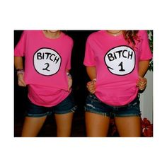 tHESE BITCH 1 BITCH 2 SHIRTS ❤ liked on Polyvore featuring pictures, backgrounds, best friends, pink and tops