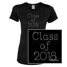 This Class of 2018 rhinestone tee makes a nice gift idea for the high school and college Junior student graduating class of 2018.