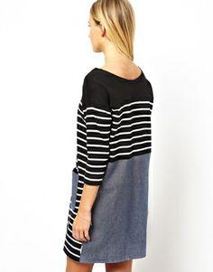 Image 2 ofWhite Chocoolate Stripe Tunic With Pockets