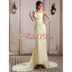Yellow Green Prom Dress With One Shoulder Court Train Chiffon- $148.65 via Polyvore