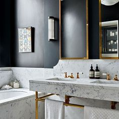 Marble Bathroom Suite with Marble Accents in Small Bathroom Ideas. Small blue-black bathroom with marble suite, mirror and pendant light fitting. Bad Inspiration, Bathroom Inspiration, Interior Inspiration, Interior Ideas, Interior Colors, Bathroom Trends, Chic Bathrooms, Bathroom Ideas, Bathroom Designs