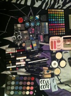 This is my makeup collection so far. #makeup #lipstick #eyeshadow #blush #eyeliner #bhcosmetics #manicpanic