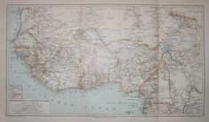 "africa - guinea & west sudan german 1894 lithograph 9.5 x 16"" $50"