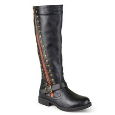Journee Collection Women's Studded Knee-High Riding Boots, Girl's, Size: 7.5 Wc, Black