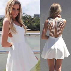 New arrive fashion white sexy back strap personality casual dress sexy casual outfits - Casual Outfit Dresses Short, Short Mini Dress, White Mini Dress, Sexy Dresses, Cute Dresses, Casual Dresses, Party Dresses, Sleeveless Dresses, Prom Gowns