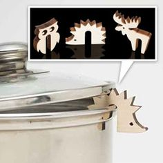 Huset Pot Guards - little laser cut wooden hedgehogs, moose, and owls... *NOTCOT    Huset Pot Guards - little laser cut wooden hedgehogs, moose, and owls...