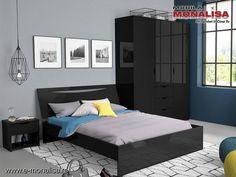 Set Mobila Moderna Dormitor Lucios Negru Letty Black My Room, Minimalism, Bed, Furniture, Home Decor, Simple Lines, Decoration Home, Stream Bed, Room Decor