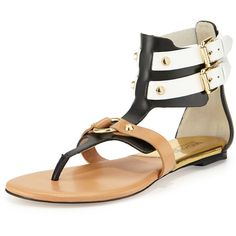 MICHAEL Michael Kors Nadine Gladiator Thong Sandal ($115) ❤ liked on Polyvore featuring shoes, sandals, gladiator sandals, ankle strap sandals, black and white flats, black white sandals and michael michael kors shoes