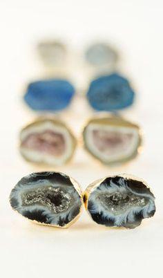 gold druzy geode stud earrings