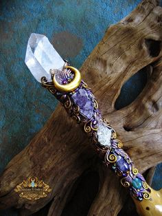Magic Crystal Wand Lemurian Quartz Amethyst Scepter Staff Wiccan Magick Pagan Altar Art THE ELVEN QUEEN by Spinning Castle