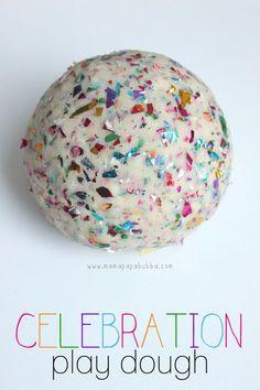 Celebration Play Dough : The perfect birthday playdough! Playdough Slime, Playdough Activities, Homemade Playdough, Toddler Activities, Birthday Activities, Nursery Activities, Toddler Games, Preschool Themes, Diy Slime