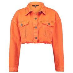 Missguided FRAYED HEM Denim jacket (1.145.590 IDR) ❤ liked on Polyvore featuring outerwear, jackets, red denim jacket, orange jean jacket, red jacket, jean jacket and orange denim jacket