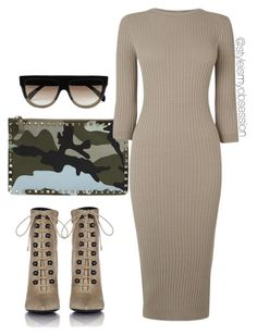 Untitled #1803 by dnicoleg on Polyvore featuring polyvore fashion style Warehouse Balenciaga Valentino CÉLINE clothing