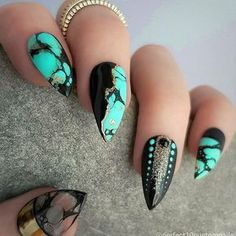 Almond shaped nails with black and green marble design. Beautiful nails by @perfect10customnails Ugly Duckling Nails page is dedicated to promoting quality, inspirational nails. Tag us and mention what Ugly Duckling products you used for a chance to be featured #nailartaddict #nai #almondnails