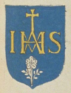 Les religieuses de Notre-Dame de Poitiers. Porte : d'azur, à un nom de Jesus Maria d'or, sommé d'une croix pattée, haussée de même, et accompagné en pointe d'une rose d'argent, tigée et feuillée de même | N° 122