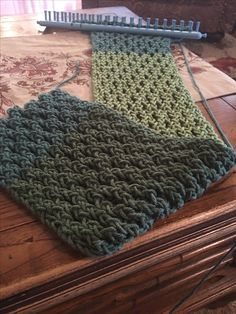 Loom knit scarf, honeycomb stitch. #loopsbyrobyn