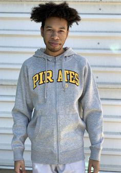 Antigua Pittsburgh Pirates Mens Grey Victory Long Sleeve Full Zip Jacket - 3233605 Pittsburgh Pirates, Pittsburgh Penguins, Pitt Panthers, Team Names, Graphic Sweatshirt, T Shirt, Classic Looks, Victorious, Hooded Jacket