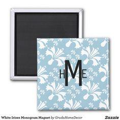 White Irises Monogram Magnet
