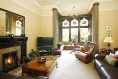 Enormous bay window, marble fireplace 5 bed detached house for sale in The Ingle, 14 Burnside Road, Burnside, Glasgow